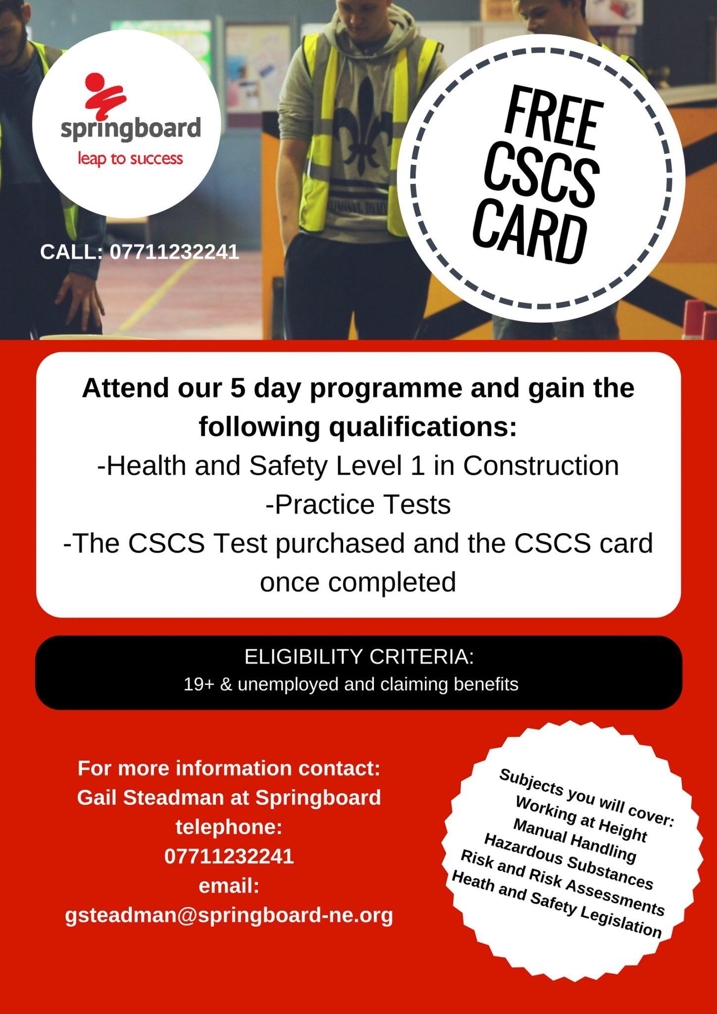 Cscs Card Springboard North East
